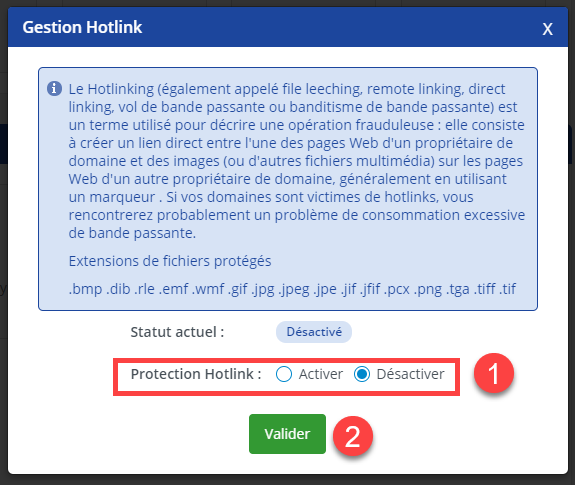 Protection hotlinks